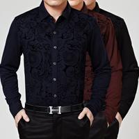 M6672 New Spring Autumn Long Sleeve Shirt Men's Long sleeve shirt Big Yards Special Process Texture High-End Men Business Shirt