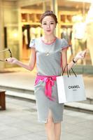 2014 Summer Casual O-neck Knee-Length One-piece Black Pink Blue Cotton Women Dress! Plus Size!
