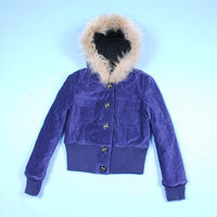 Women winter velvet short hooded jacket coat with fur hood hihg waist thick warm lady jacket blue coffee purple S M L XL