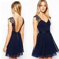 New 2015 Summer Casual Dress European Exclusive Sexy Lace Halter Chiffon Dress Sleeveless Vest Women Dress Free Shipping