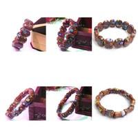6pc mix designs gem Painting Natural Golden Sand Stone  Nugget  beaded Stretchy bracelet bangle DCB28-30