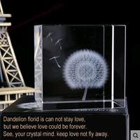 Dandelion Specimen Crystal Cube Romantic moment Lovers' gift Christmas gift Home Office Decoration