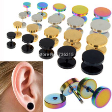2PCS 6-14mm Coin Barbell Body Jewelry Fake Ear Plugs Cheater Expanders Piercings Unisex Jewelry Free Shipping H5077 P(China (Mainland))