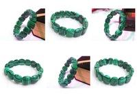 6pc mix designs gem  Natural Stone man-made Malachite Nugget  beaded Stretch bracelet bangle DCB33-35