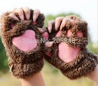 CatLike Thick Winter Warm Gloves Women Girls Cute Half Finger Gloves Big Promotion