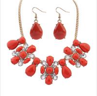 Fashion women's crystal alloy rhinestone jewelry sets choker necklace earrings personality simple necklace earrings for women