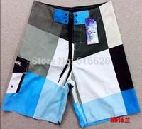 2015 New Men's Surfing Shorts Beach Quick-drying Swimwear shorts Swimming Trunks Sports Shorts white blue gray grid
