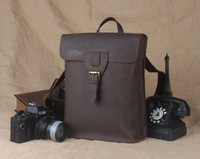 Vintage Simple Backpack Genuine Leather Unisex School Book Bag Wild Style Shoulder Bag TIDING 1128