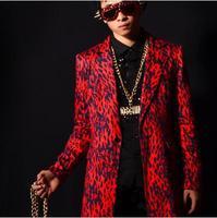 [exclusive] temptation red leopard long matching sets of bar DJ singer DS leisure suit fashion costume