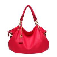2014 Colorful fashion casual handbags high quality pu leather lady bag black blue red 3 colors free shipping bag B-026#