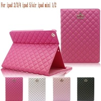 50 pcs Luxury Lambskin Diamond Leather Case for iPad 2/3/4 iPad MINI 1/2/3 Crown Plaid Foldable Stand Smart Cover for iPad air 2