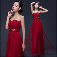 Elegant  Lace Layer Bow Ornament Long Bridesmaid Dress Plus size Slim Soft Fabric Women Party Dresses