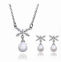 ZS031P Wholesale fine 100% Real S925 pure Sterling silver necklace earrings ring jewelry set