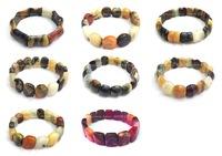 6pc mix designs gem  Natural Stone Chinese Jade Nugget  beaded Stretching bracelet bangle DCB48-53