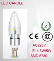 SMD5730 E14  3W 5W 220V LED White/Warm white High Power LED Bulb Lamp Candle Light Energy Saving Silver A1