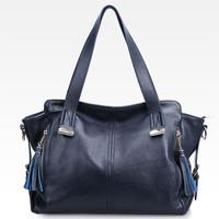 Women Natural Leather Handbag Cowhide Leather Messenger Bags Women Genuine Leather Crossbody Bag Vintage Tassel Shoulder Bag