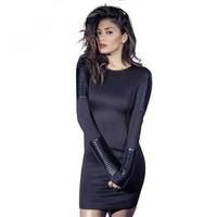 pu stitching sleeves Punk Tight Slim locomotive package hip Slim dress Y0782