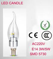 SMD5730 E14  3W 5W 220V LED White/Warm white High Power LED Bulb Lamp Candle Light Energy Saving Silver A2