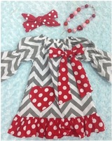 Valentine dress with matching hair bows and chunky necklace set