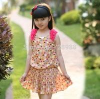 2014 new summer fashion girl clothing sweet girl print dress brand girls dress chiffon colorful dot princess free shipping