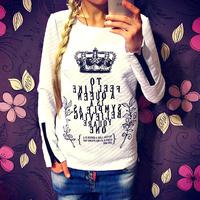 Fanshou Free Shipping 2014 Women Hoodies Casual Sweatshirts Women Pullovers Crown Printed Sweatshirt With Zipper Moleton