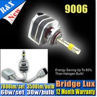 Pair 2014 New Bridgelux COB Led Headlights 60w 7200lum 12v H1 H3  H7  9005 9006 H11  LED Car All in One Headlight Lamp DRL