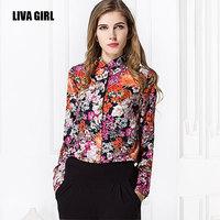 2015 spring Retro big flower shirt printing plus size chiffon blouses women long sleeve turn-down collar office work blouse S-XL