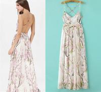Fashion 2015 fashion women's print racerback sexy spaghetti strap one-piece dress long skirt female14120901