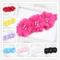 Baby Girl Headband Triple Dainty Flower Headband Chiffon Flower with Elastic Headband Hairbands Girls Hair Accessories 5pcs