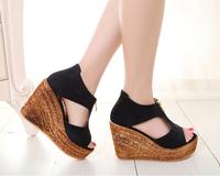 women fashion summer wedges sandals high heels platform Straw shoes zip female 32 33 41 42 43 sy-1014