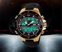 New Digital Watch Fashion Men Sports Watch Waterproof LCD Digital Analog Dual Time Display Army Alarm Wrist Watches AB045