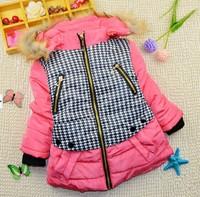 3-9Y 2014 winter little girls warm cotton-padded jacket coat X14018