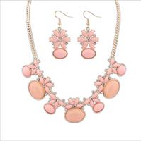 Fashion women's crystal alloy jewelry sets choker necklace earrings oval gemstone charm necklace earrings for women wedding