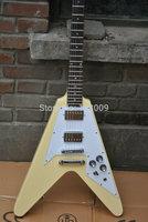 New Custom flying V Cream yellow Electric Guitar In Stock