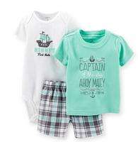 Carters Baby Boys Set,Boys 3-Piece ( Sky Blue Tee+ White Bodysuit+Plaid Shorts) Sets ,100% Soft Cotton Boys Sets,Freeshipping