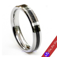 Tungsten Carbide Ring Carbon Fabric Inlay Bevel Edge Women Wedding Band Jewelry Gift FREE SHIP