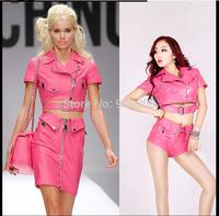 New syle pink PU leather Jackets& shorts(skirts) women's clothing set hotteat fashion design women's clothing