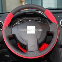 XuJi Black Genuine Leather Steering Wheel Cover for Nissan QASHQAI X-Trail NV200 Rogue