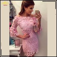 2014 New arrive women summer Pink lace dress Vestido De Festa fashion lace vestidos Stitching lace collar party dresses 13625