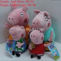 4pcs/Set hot sale Daddy Mummy Pig Peppa George Pig family Plush Toy Set Movie TVPeppa Pig hold Teddy Stuffed Animals Dolls Kids