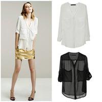 New 2015 women spring summer autumn V-neck chiffon elegant all-match casual spirals shirt blouse plus size blusas
