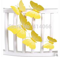 New 12Pcs/Lot Vinyl 3D Yellow Butterflies For Wall Art Decal Removable Home Decoration DIY Beautiful Wall Stciker Home Decor