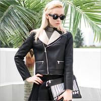 Faux Leather Jacket Jaqueta De Couro Leather Jacket Woman Solid Natural Color Zipper Regular Plus Size Leather Jackets For Women