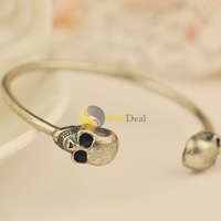 MiniDeal limited New Fashion Color Jewelry Metal Alloy Skull Bangle Retro Cool Cuff Bracelet Newest classic
