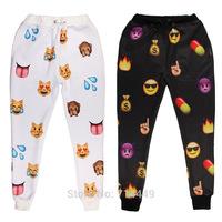 Lovers Pants Emoji Cartoon style Print Pants Boys&Girls Sweet Pants Black & White Thicken long Joggers Trousers Sportswear