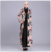 HIGH QUALITY British Style Elegant Maxi Trench Coat 2014 Winter Women's Geometric Print Plus Size XXXL Long Overcoat Outerwear
