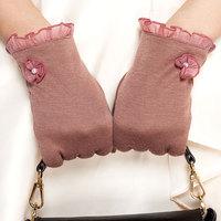 Braim lace driving gloves female looply winter thin thermal gloves plus velvet 2014 female capacitance screen
