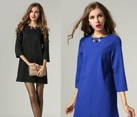 2015 brand higth quality spring antumn Elegant women soild three quarter sleeve O neck formal work dress fashion 2color L-5XL