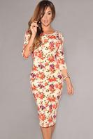 Black V Back Half Sleeves Floral Midi Dress 2014 new high street Midi Dresses Free Shipping Backless Dresses Floral LC6559