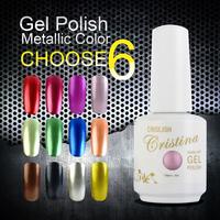Choose 6 Crislish New Led Uv Metallic Nail Gel Soak Offf UV Gel Polish Nail Art 15ml